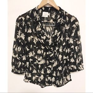 Anthro HD in Paris ruffle printed picea blouse